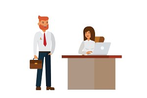 businesswoman and businessman interview in office cartoon flat vector illustration concept on isolated white background