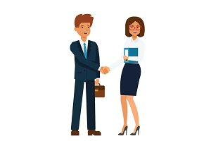 businesswoman and businessman standing together and shaking hands cartoon flat vector illustration concept on isolated white background