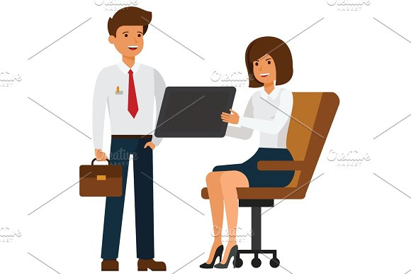 businesswoman showing tablet to manager cartoon flat vector illustration concept on isolated white background