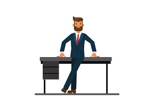 chairman of the board leaning on a table in the office cartoon flat vector illustration concept on isolated white background
