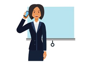 entrepreneur woman, businesswoman cartoon flat vector illustration concept on isolated white background