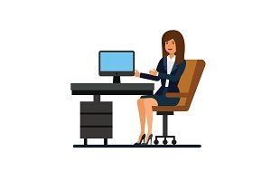 female client support, working at office cartoon flat illustration concept on isolated vector white background