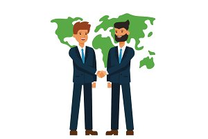 global partnership, businessmen shaking hands  cartoon flat vector illustration concept on isolated white background