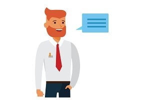 Handsome businessman entrepreneur in white shirt cartoon flat vector illustration concept on isolated white background