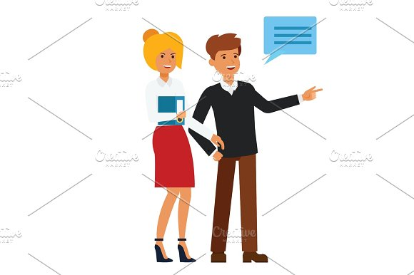 happy customers showing something cartoon flat vector illustration concept on isolated white background