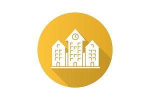 Town hall flat design long shadow glyph icon