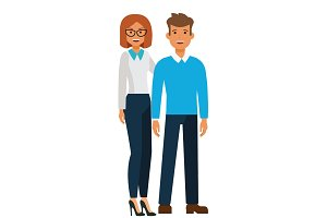 happy standing couple, man and woman cartoon flat vector illustration concept on isolated white background