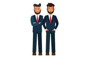 male business team, bearded businessmen cartoon flat vector illustration concept on isolated white background