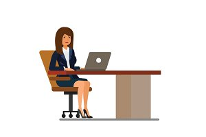 office woman at desk working at laptop cartoon flat vector illustration concept on isolated white background