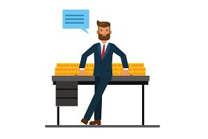 rich businessman in bank office with money cartoon flat vector illustration concept on isolated white background