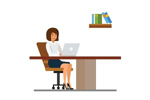 Secretary working in office at desk cartoon flat vector illustration concept on isolated white background