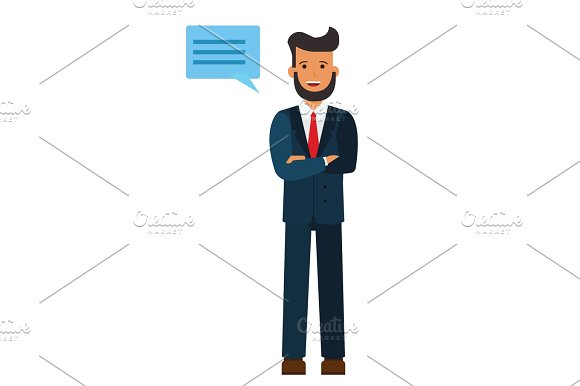 standing businessman with cross arms cartoon flat vector illustration concept on isolated white background