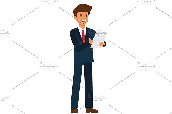 standing businessman writing contract cartoon flat vector illustration concept on isolated white background in Illustrations