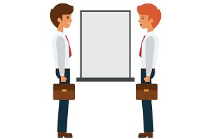 two businessmen talking near presentation board cartoon flat vector illustration concept on isolated white background