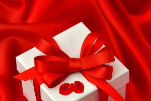 Gift box with bow ribbon