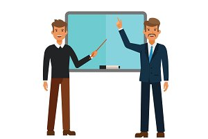 young student and professor standing with a pointer cartoon flat vector illustration concept on isolated white background