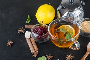 Autumn warming tea with lemon,mint