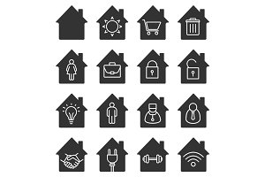 Houses glyph icons set