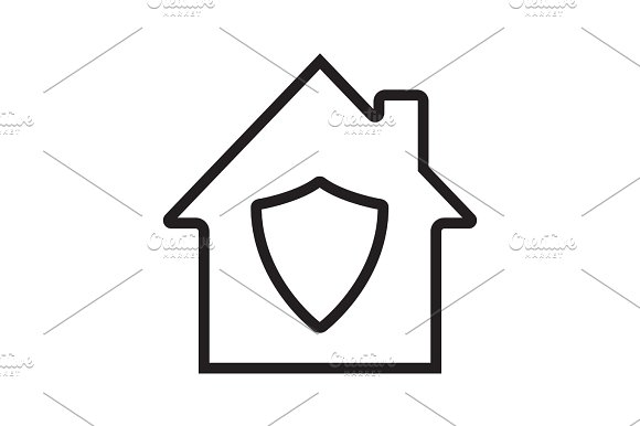 Home Protection Linear Icon