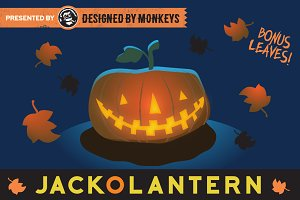 Glowing Jack-O-Lantern Vector Art