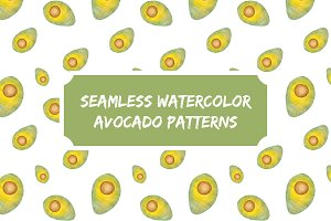 Watercolor Seamless Avocado Patterns
