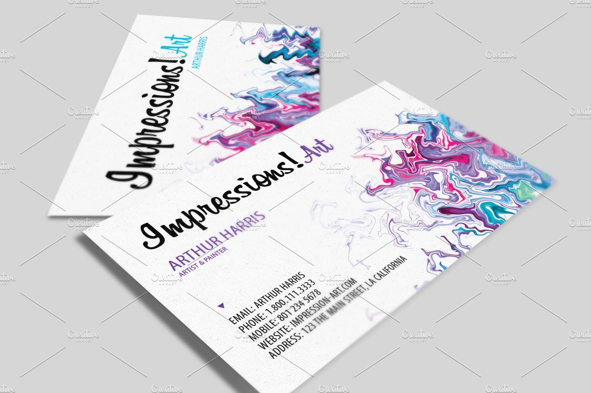 artistic business card v2 business card templates creative market - Artist Business Cards