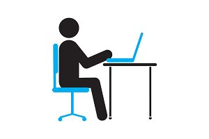 Man working at computer silhouette icon