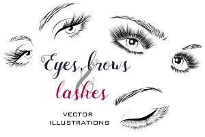 Woman eyes and lashes set 20 vectors
