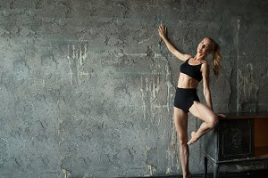 Woman Fitness Gymnastic Exercise, Sport mature Girl Fit Dance,