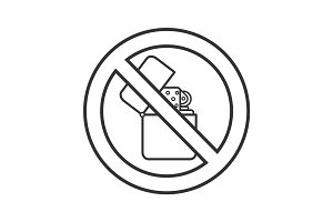 Forbidden sign with flip lighter linear icon