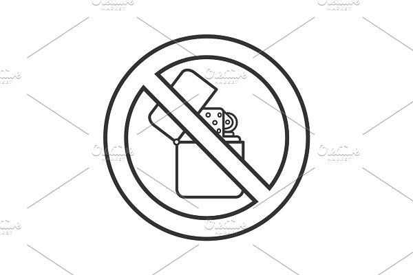 88069c4f9cda4 Forbidden sign with slippers linear icon ~ Icons ~ Creative Market