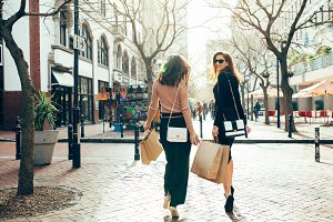 Female shoppers walking