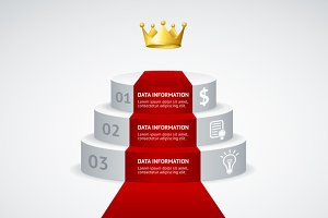 Infografic podium with red carpet