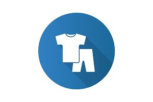Nightwear flat design long shadow glyph icon