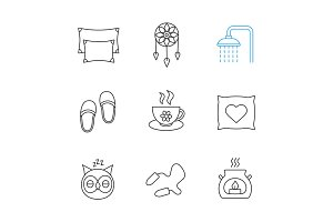 Sleeping accessories linear icons set