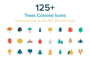 125+ Trees Colored Icons