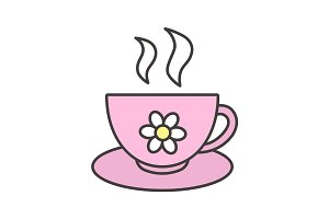 Cup of herbal tea color icon