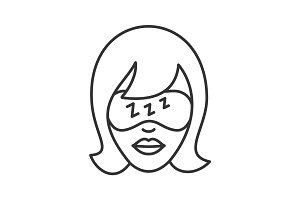 Woman face with sleeping mask linear icon