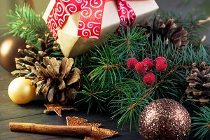 Christmas background with box,fir