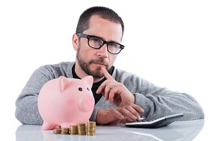 man with piggy bank  question