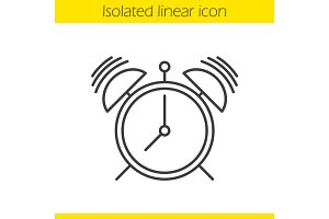 Ringing alarm clock linear icon
