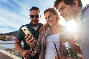Friends using a smartphone