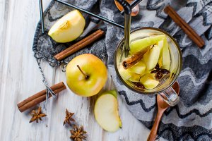 Autumn detox cocktail with  apples