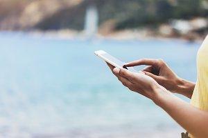 Smartphone in hand girl