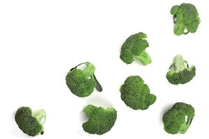 fresh broccoli isolated on white backgroundwith copy space for your text. Top view. Flat lay pattern