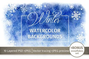 Watercolor Winter Backgrounds.