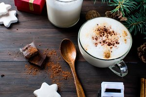 Two cup hot cocoa, cookies, fir tree