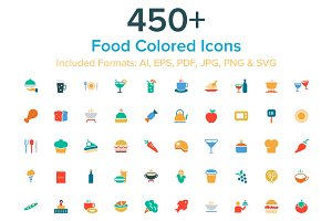 450+ Food Colored Icons