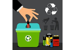 Battery recycling illustration