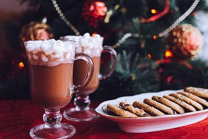 Winter hot drink, cacao with marshmallows